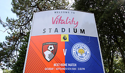 A general view of a sign during the Premier League match at the Vitality Stadium, Bournemouth.