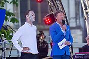 Nederland staat op tegen kanker 2019 in 's-Hertogenbosch.<br /> <br /> Op de foto: Kjeld Nuis en Frits Sissing