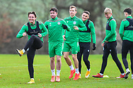 Scott Allan (#23) of Hibernian FC (left) is all smiles during the Hibernian press conference and training session at Hibernian Training Centre, Ormiston, Scotland on 18 December 2020.