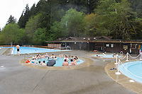 Tourists enjoy the hot springs at Sol Duc Hot Springs Resort, Olympic National Park, Washigton.