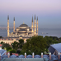 Istanbul, Turkey 20 May 2007<br /> Sultanahmet mosque during the sunset.<br /> The Blue Mosque was built from 1610-1619 under Sultan Ahmed I.<br /> Photo: Ezequiel Scagnetti