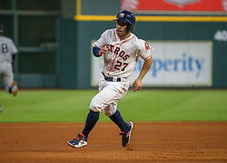 April 30, 2018 - Houston, TX, U.S. - HOUSTON, TX - APRIL 30:  Houston Astros second baseman Jose Altuve (27) runs to third base in the fourth inning during the baseball game between the New York Yankees and Houston Astros on April 30, 2018 at Minute Maid Park in Houston, Texas.  (Photo by Leslie Plaza Johnson/Icon Sportswire) (Credit Image: © Leslie Plaza Johnson/Icon SMI via ZUMA Press)