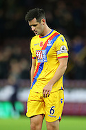 Scott Dann of Crystal Palace looking dejected at the end of the game. Premier League match, Burnley v Crystal Palace at Turf Moor in Burnley , Lancs on Saturday 5th November 2016.<br /> pic by Chris Stading, Andrew Orchard sports photography.