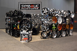 12 February 2015:  Wheel display by Symbolic Kustomz.<br /> <br /> First staged in 1901, the Chicago Auto Show is the largest auto show in North America and has been held more times than any other auto exposition on the continent. The 2015 show marks the 107th edition of the Chicago Auto Show. It has been  presented by the Chicago Automobile Trade Association (CATA) since 1935.  It is held at McCormick Place, Chicago Illinois