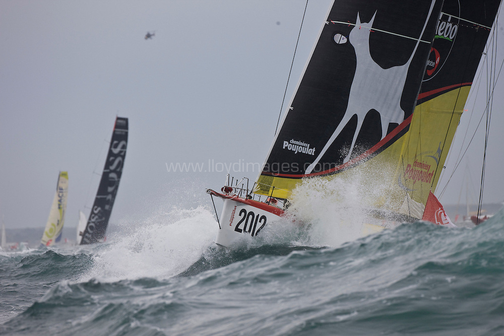 Bernard Stamm the skipper of the IMOCA Open60 Cheminées Poujoulat.n. At the start of Vendee Globe 2012. Les Sables d Olonne. France. .Credit: Lloyd Images