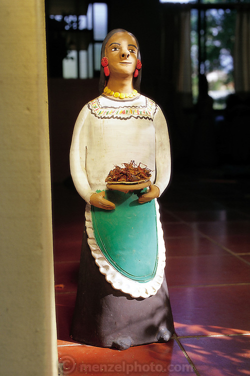 A culinary and cultural display of grasshoppers pan-roasted with lemon, salt, and garlic in the grasp of a locally crafted figurine, Oaxaca, Mexico. (Man Eating Bugs page 111)