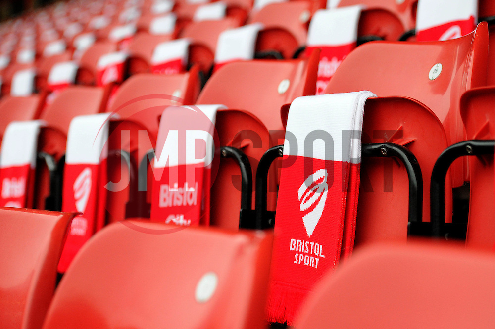 Ashton Gate laid out with scarves - Photo mandatory by-line: Dougie Allward/JMP - Mobile: 07966 386802 - 25/01/2015 - SPORT - Football - Bristol - Ashton Gate - Bristol City v West Ham United - FA Cup Fourth Round