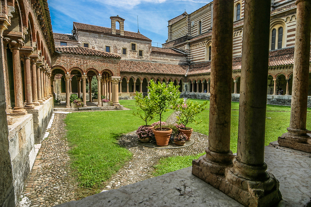 Cloister of San Zeno Maggiore basilica in Verona, Italy. The cloister daties from the 12th to 14th centuries.