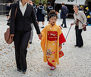 Young girl in yellow and red kimono. Kitano Tenmangu Shrine is dedicated to Sugawara Michizane, a scholar and politician who was unfairly exiled by his political rivals. A number of disasters were attributed to Michizane's vengeful spirit after his death in exile, and these shrines were built to appease him. Kyoto, Japan.