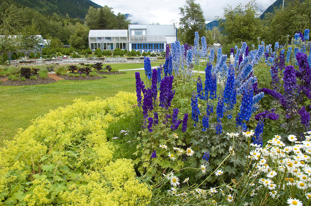 The Jewell Garden gift shop that demonstrates and sells handmade glassblown objects and grows a superb flower garden..  in Skagway, AK.