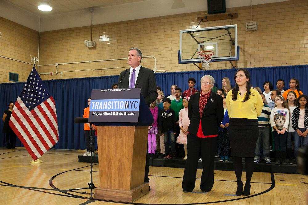 Mayor-Elect Bill de Blasio announces his appointment of Carmen Fariña, center, as Schools Chancellor at William Alexander Middle School in Park Slope, Brooklyn, NY on Monday, Dec. 30, 2013. At far right is Ursulina Ramierez, whom Fariña selected as her Chief of Staff.<br /> <br /> CREDIT: Andrew Hinderaker for The Wall Street Journal<br /> SLUG: NYSTANDALONE