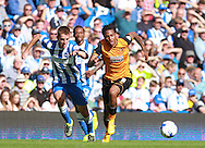 Hull City striker Abel Hernandez and Brighton defender Uwe Huenemeier race each other for the ball during the Sky Bet Championship match between Brighton and Hove Albion and Hull City at the American Express Community Stadium, Brighton and Hove, England on 12 September 2015. Photo by Bennett Dean.