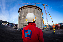 The new Ethane gas tank under construction.<br /> INEOS Rafnes plant, in Norway, as part of an INEOS Media Trip.