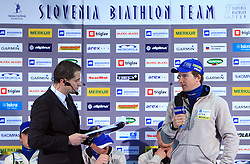 Tomaz Sustersic and Peter Dokl at press conference of Slovenian Biathlon National Team before new season 2008/2009, on November 24, 2008 in Emporium, BTC, Ljubljana, Slovenia.  (Photo by Vid Ponikvar / Sportida)