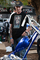Hawke Lawshe at the Stampede pre-Born Free gathering and races in the City of Industry, CA, USA. Thursday, June 20, 2019. Photography ©2019 Michael Lichter.