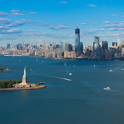 Panorama of New York: Statue of Liberty, Manhattan and Hudson river