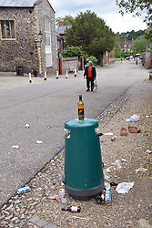 Rubbish following alfresco drinking the previous evening in the open space around Norwich Cathedral during Coronavirus lockdown, UK June 2020. Many bars nearby are offering takeaway drinks