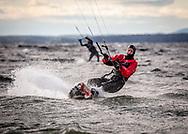 Kitesurfing på Storsjön vid Västbyviken.
