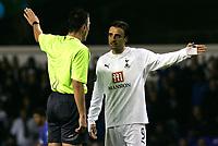 Photo: Tom Dulat.<br /> Tottenham Hotspur v Getafe. UEFA Cup. 25/10/2007.<br /> Dimitar Berbatov of Tottenham Hotspur dissagree with referee Knut Kircher.
