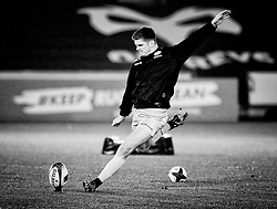 Saracens' Owen Farrell during the pre match warm up<br /> <br /> Photographer Simon King/Replay Images<br /> <br /> European Rugby Champions Cup Round 5 - Ospreys v Saracens - Saturday 13th January 2018 - Liberty Stadium - Swansea<br /> <br /> World Copyright © Replay Images . All rights reserved. info@replayimages.co.uk - http://replayimages.co.uk