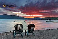 Sunset view into Whitefish Lake in Whitefish, Montana, USA