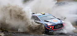 Hyundai's Andreas Mikkelsen on the Sweet Lamb stage during day three of the DayInsure Wales Rally GB.