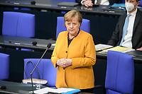 24 MAR 2021, BERLIN/GERMANY:<br /> Angela Merkel, CDU, Bundeskanzlerin, waehrend der Regierungsbefragung durch den Bundestag zur Bekaempfung der Corvid-19 Pandemie, Plenarsaal, Reichstagsgebaeude, Deutscher Bundestag<br /> IMAGE: 20210324-01-015<br /> KEYWORDS: Corona