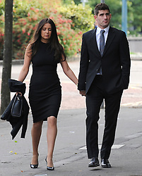 © Licensed to London News Pictures. 4/10/2016. Cardiff, UK.  Footballer Ched Evans, with his solicitor and girlfriend returns to Cardiff Crown court for the afternoon session on the first day of a rape trial. Following his previous conviction which was quashed by the court of appeal. Photo credit: Jeff Thomas/LNP