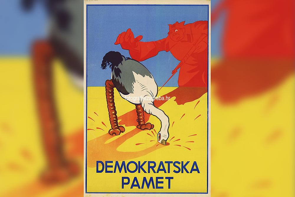 Demokratska pamet.  <br /> <br /> Impresum[S. l.] : [s. n.], [1945] ([Zagreb] : [Hrvatska državna tiskara])<br /> Materijalni opis1 plakat : litografija ; 100 x 69,5 cm.<br /> Vrstavizualna građa • plakati<br /> ZbirkaGrafička zbirka NSK • Zbirka plakata<br /> Formatimage/jpeg<br /> SignaturaC-P-XXVIII-4/47<br /> Obuhvat(vremenski)20. stoljeće<br /> NapomenaNepoznati autor • Uz gornji rub plakata olovkom: Hrv. drž. tisk, 8.III.45.<br /> PravaJavno dobro<br /> Identifikatori000953686<br /> NBN.HRNBN: urn:nbn:hr:238:960520 <br /> <br /> Izvor: Digitalne zbirke Nacionalne i sveučilišne knjižnice u Zagrebu