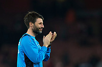 Lincoln City manager Danny Cowley applauds the away fans at full time     <br /> <br /> <br /> Photographer Craig Mercer/CameraSport<br /> <br /> The Emirates FA Cup Sixth Round - Arsenal v Lincoln City - Saturday 11th March 2017 - The Emirates - London<br />  <br /> World Copyright © 2017 CameraSport. All rights reserved. 43 Linden Ave. Countesthorpe. Leicester. England. LE8 5PG - Tel: +44 (0) 116 277 4147 - admin@camerasport.com - www.camerasport.com