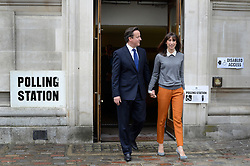 © Licensed to London News Pictures. 03/05/2012. Westminster, UK British Prime Minister David Cameron and his wife Samantha Cameron leave after voting at Central Methodist Hall in the Mayoral Elections in London today 3rd May 2012 . Photo credit : Stephen Simpson/LNP