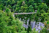 France, Pyrénées-Atlantiques (64), Pays Basque, vallée de la Haute Soule, la passerelle d'Holzarté, canyon d'Olhadubi, GR 10 // France, Pyrénées-Atlantiques (64), Basque Country, Haute Soule valley, the Holzarté footbridge, Olhadubi canyon