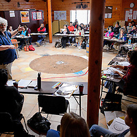 011514       Cable Hoover<br /> <br /> NASA lunar scientist Daniel Day lectures a group of local educators about astronomy and the origins of the universe during a workshop at Navajo Technical University in Crownpoint Wednesday.