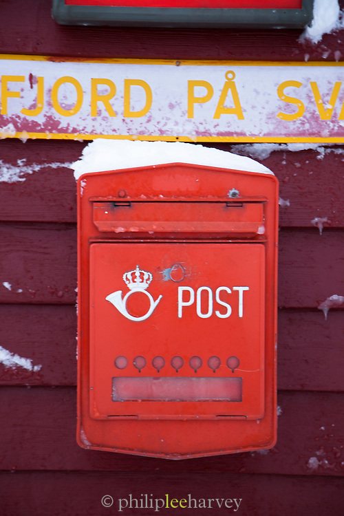 Postbox at Isfjord Radio, and old radio telecommunications building, now accomodation for tourists in Spitsbergen. Spitsbergen is the largest island of the arctic archipelago Svalbard, of NorwaySpitsbergen is the largest island of the arctic archipelago Svalbard, of Norway