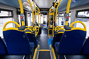 Empty bus as the national coronavirus lockdown three continues on 5th March 2021 in London, United Kingdom. Public transport use is still low amongst the public, with all transport for London services aiming to limit numbers. With the roadmap for coming out of the lockdown has been laid out, this nationwide lockdown continues to advise all citizens to follow the message to stay at home, protect the NHS and save lives, and the streets of the capital are quiet and empty of normal numbers of people.