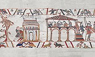 Bayeux Tapestry scene 3 - 4: Harold stops on way to Normandy to recieve blessing at Bosham church and then feasts.  BYX3 .<br /> <br /> If you prefer you can also buy from our ALAMY PHOTO LIBRARY  Collection visit : https://www.alamy.com/portfolio/paul-williams-funkystock/bayeux-tapestry-medieval-art.html  if you know the scene number you want enter BXY followed bt the scene no into the SEARCH WITHIN GALLERY box  i.e BYX 22 for scene 22)<br /> <br />  Visit our MEDIEVAL ART PHOTO COLLECTIONS for more   photos  to download or buy as prints https://funkystock.photoshelter.com/gallery-collection/Medieval-Middle-Ages-Art-Artefacts-Antiquities-Pictures-Images-of/C0000YpKXiAHnG2k