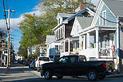 Black Chevrolet Silveroo pick up truck in street scene in Newport, Rhode Island, USA