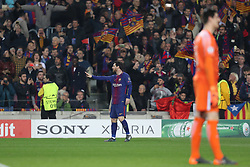 March 14, 2018 - Barcelona, Spain - LIONEL MESSI of FC Barcelona celebrates after scoring his side's opening goal during the UEFA Champions League, round of 16, 2nd leg football match between FC Barcelona and Chelsea FC on March 14, 2018 at Camp Nou stadium in Barcelona, Spain (Credit Image: © Manuel Blondeau via ZUMA Wire)