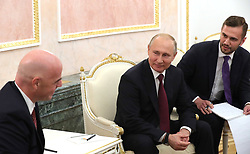 May 23, 2019 - Moscow, Russia - May 23, 2019. - Russia, Moscow. - FIFA President Gianni Infantino (left) and Russian President Vladimir Putin talk during a meeting at the Moscow Kremlin. (Credit Image: © Russian Look via ZUMA Wire)