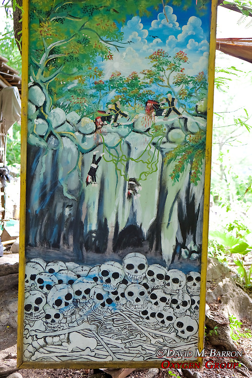 Painting Of Pol Pot Time Killing People By Throwing People Into Cave