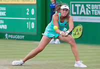 NOTTINGHAM, ENGLAND - JUNE 14: Vera Lapko of Belarus in action against Donna Vekic of Croatia during Day Six of the Nature Valley Open at Nottingham Tennis Centre on June 14, 2018 in Nottingham, United Kingdom. (Photo by James Wilson/MB Media/Getty Images)