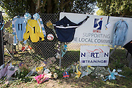 Flowers and tributes before the FA Vase 1st Qualifying Round match between Worthing United and East Preston FC at the Robert Eaton Memorial Ground, Worthing, United Kingdom on 6 September 2015. Photo by Phil Duncan.