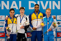 Mens 3m Springboard podium L-R, Silver medallist Chris Mears from City of Leeds Diving Club, Gold medallist Freddie Woodward from City of Sheffield Diving Club, Guest Bronze medallist Yona Knight-Wisdom from City of Leeds Diving Club and Jamaica and Bronze medallist James Heatly from Edinburgh Diving Club - Mandatory byline: Rogan Thomson/JMP - 23/01/2016 - DIVING - Southend Swimming & Diving Centre - Southend-on-Sea, England - British National Diving Cup Day 2.