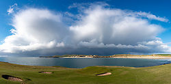 Durness Golf Course and storm clouds at Balnakeil Bay  in Durness on the North Coast 500 scenic driving route in northern Scotland, UK