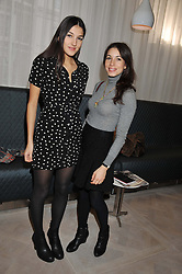 Left to right, LAUREN MILLS and LAUREN KEMP at a ladies breakfast hosed by At Last! held at Grace, 11c West Halkin Street, London on 29th January 2013.