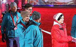 18.03.2017, Planai-Stadion, Schladming, AUT, Special Olympics 2017, Wintergames, Eröffnungsfeier, im Bild die ehemaligen Skirennläufer Benjamin Raich (AUT), Marlies Raich (AUT) und Michael Tritscher (AUT) tragen die Olympische Fahne // former ski racers Benjamin Raich, Marlies Raich, Michael Tritscher, all of Austria, with the Olympic flag during the opening ceremony in the Planai Stadium at the Special Olympics World Winter Games Austria 2017 in Schladming, Austria on 2017/03/17. EXPA Pictures © 2017, PhotoCredit: EXPA / Martin Huber