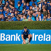 DUBLIN, IRELAND:  October 9:   Johnny Sexton #22 of Leinster lines up a conversion from the touchline during the Leinster V Zebre, United Rugby Championship match at RDS Arena on October 9th, 2021 in Dublin, Ireland. (Photo by Tim Clayton/Corbis via Getty Images)