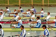 FISA World Cup Rowing Munich Germany..27/05/2004..Thursday morning opening heats...Heat men's four GER M4-.Stroke Bernd Heidicker, Philipp Stueer, Paul Dienstbach and Sebastian Thormann. [Mandatory Credit: Peter Spurrier: Intersport Images].