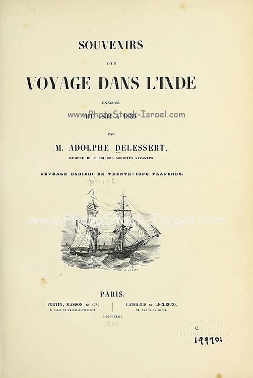 Title page of Souvenirs d'un voyage dans l'Inde exécuté de 1834 à 1839 (A voyage to India) by Delessert, Adolphe, published in Paris in 1843