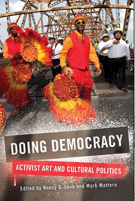 """Second Line in New Orleans used as a book cover for """"Doing Democracy"""""""